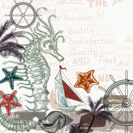 tripping: Marine background with starfishes and ship. Sea and vacation theme Illustration