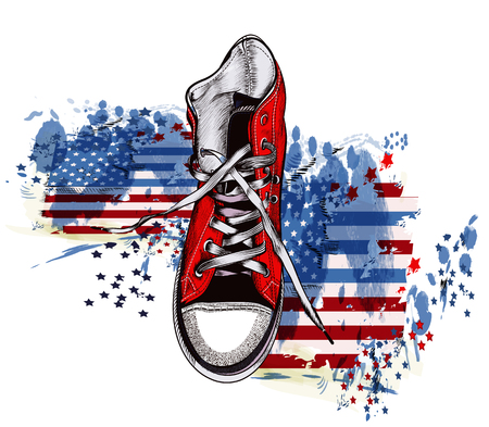 Hand drawn vector  with sport boot and grunge american flag in ink spots. Hipster theme Illustration