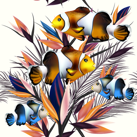tropical flowers: Beautiful vector pattern with fishes tropical plants, palm leafs. Ideal for fabric prints patterns