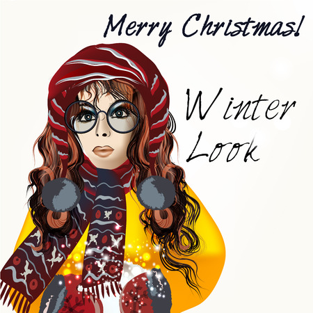 long haired: Christmas greeting fashion illustration with pretty long haired girl holding snowball in a hat and glasses. Hipster look, winter style