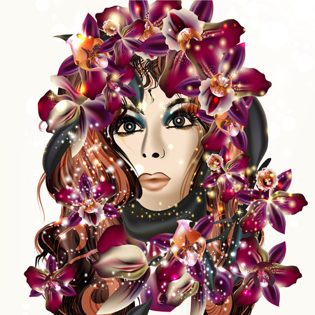 Beautiful vector realistic girl with long hair and orchids in it. Fashion and beauty design