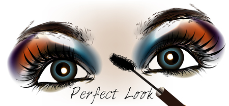 Blue beautiful female eyes with make up. Fashion illustration, perfect look