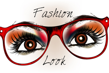 fashion glasses: Fashion hipster background with beautiful brown eyes in red glasses. Stylish look