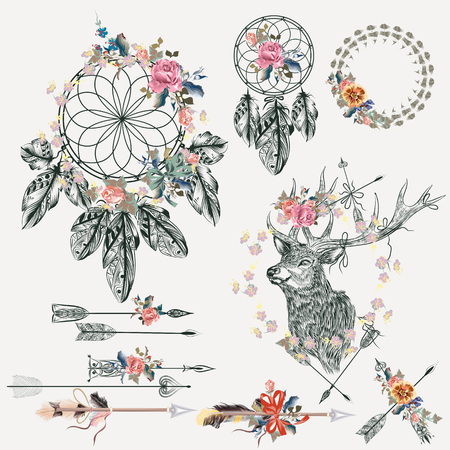 cosmos: Beautiful boho elements collection. Deer, arrows, dreamcatcher, feathers and flowers with tapes for design