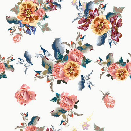 vintage rose: Beautiful floral pattern with roses and cosmos flowers in watercolor style, light colors Illustration