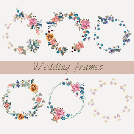 Collection of wedding floral frames in watercolor style for design