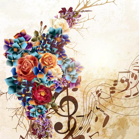 Grunge vecteur de fond avec des notes de musique et fleurs rose dans le style vintage