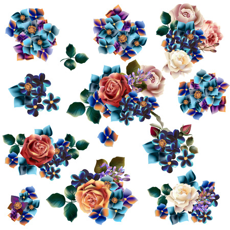rosy: Collection of vector realistic flowers