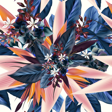 Beautiful vector pattern with tropical plants, leafs. Ideal for fabric prints patterns