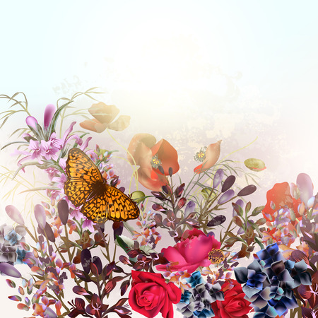 Beautiful vector natural field background or illustration with wild flowers and roses