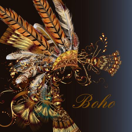 Boho fashion hoofdtooi met veren en kwastjes