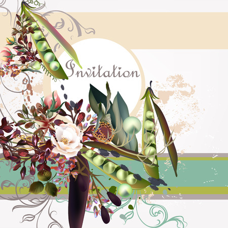 peer to peer: Fashion invitation background with peer and roses Vectores