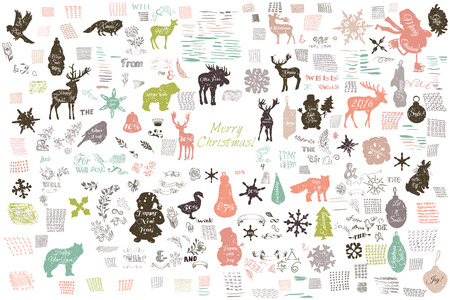 biggest animal: Christmas mega collection of vector elements, shapes, strokes and textures. Doodle style