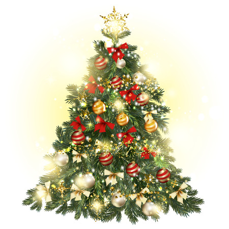 glimmered: Christmas decorated tree with baubles, stars, snowflakes, bows and lights