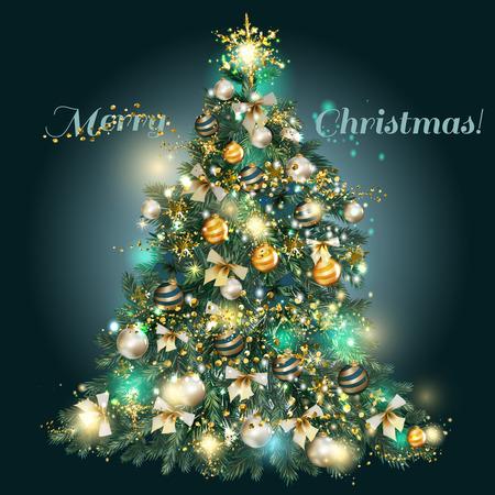 moños de navidad: Árbol de navidad adornado con oro, adornos azules y plata, estrellas, copos de nieve, arcos y luces