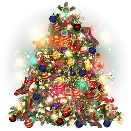 glimmered: Christmas tree ornate decorated by baubles, snowflakes, socks, bows and other. Vector greeting card Illustration