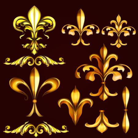 cor: Collection of vector golden swirls and fleur de lis