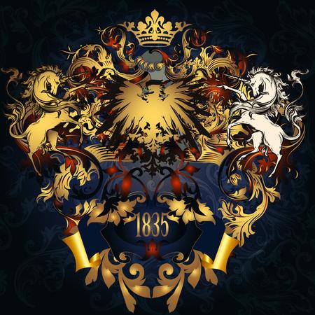 nobel: Heraldic design with coat of arms in luxury golden style
