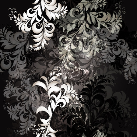 classic style: Elegant pattern in black and white colors, classic style