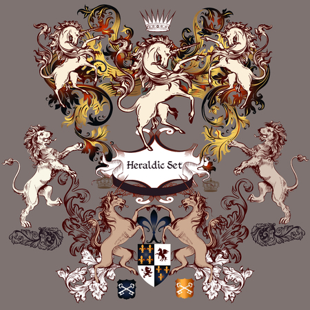 Heraldic collection of detailed design with coat of arms in luxury style. Swirls, unicorns, lions, shields