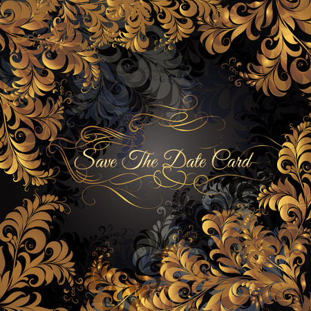 cor: Save the date or wedding invitation with vintage flourishes. Classic style