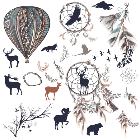 animals collection: Collection of vector dreamcatchers with feathers, trees and animals