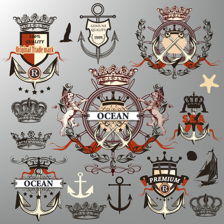 eagle shield and laurel wreath: Detailed retro collection or set of vector nautical labels, crowns, anchors in heraldic style Illustration
