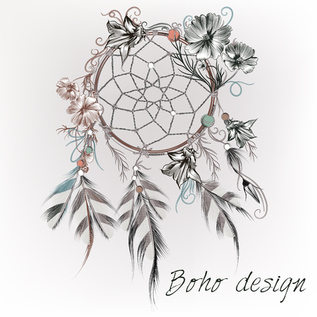 Beautiful boho design with dreamcatcher, feathers and flowers