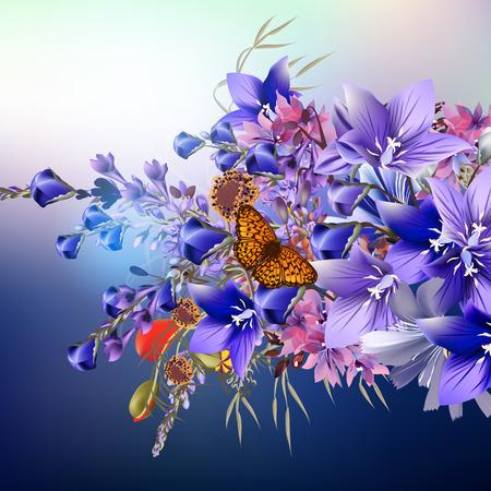 flower fields: Elegant realistic vector flowers. Blue bells Illustration