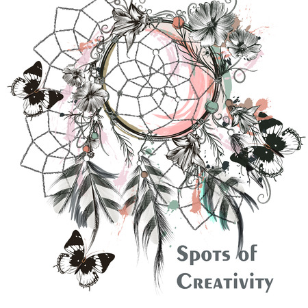 creativity symbol: Illustration with dreamcatcher and butterflies. Symbol of creativity