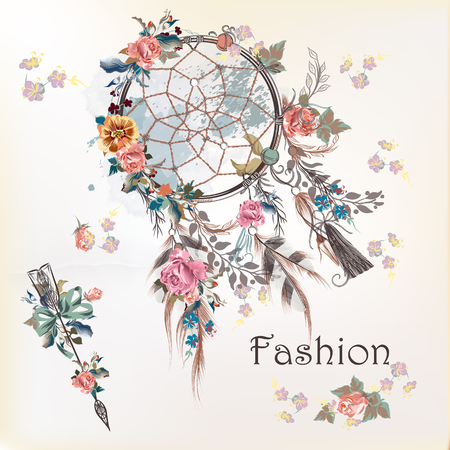 Fashion illustration with dreamcatcher and flowers. Hand drawn design Vettoriali