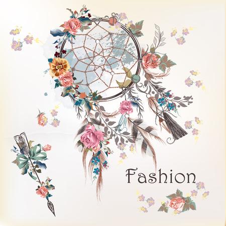 Ilustración de la moda con dreamcatcher y flores. Diseño dibujado a mano Ilustración de vector