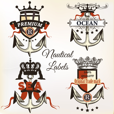 tshirt designs: Collection of vector antique nautical logotypes or label with anchor, wings and crown. Ideal for T-shirt designs or badges