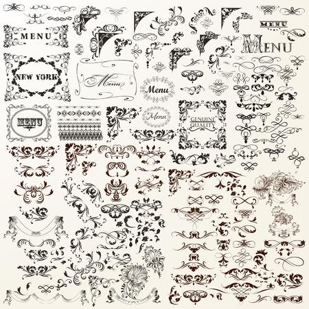 Ensemble d'éléments vectoriels décoratifs Vintage. Flourishes, tourbillons, cadres, frontières