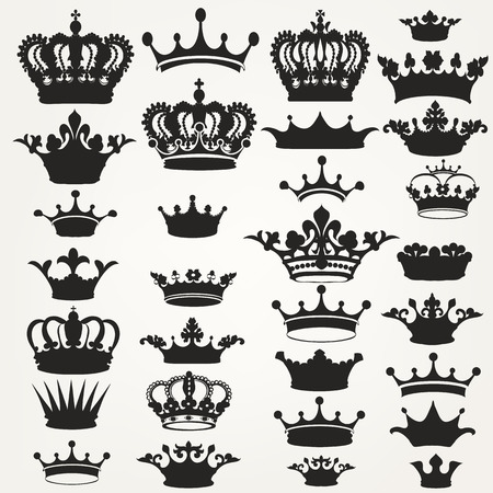 Big collection of vector crown silhouettes in vintage style Illustration