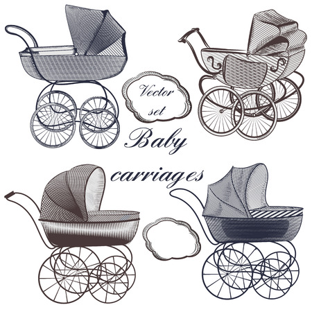 prams: Set of vector baby prams hand drawn in engraved style