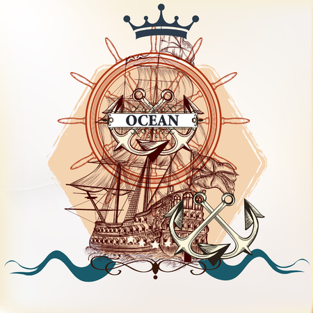 tshirt designs: Heraldic nautical logotype or label with anchor, ship and crown. Ideal for T-shirt designs or badges Illustration