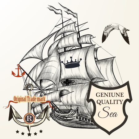 tripping: Nautical design with vintage ship, anchor, seagull, crown and banner for text