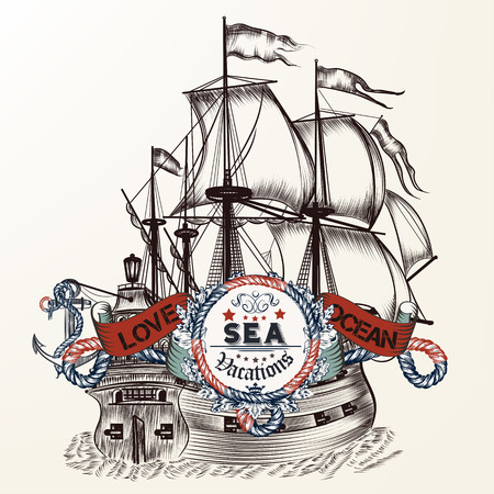 Hand drawn ship in vintage style with rope and banner for text. Retro Nautical style