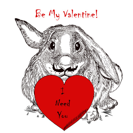 Cute greeting Valentine's Day card with rabbit holding red heart. I need you