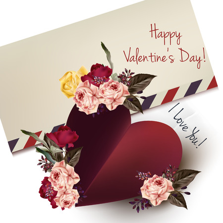 flourishing: Greeting cute card with red heart and roses. I love you