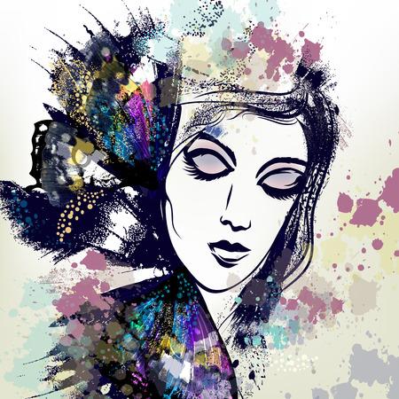 ilustración vectorial de la moda con la cara femenina en alas de mariposa hermosas