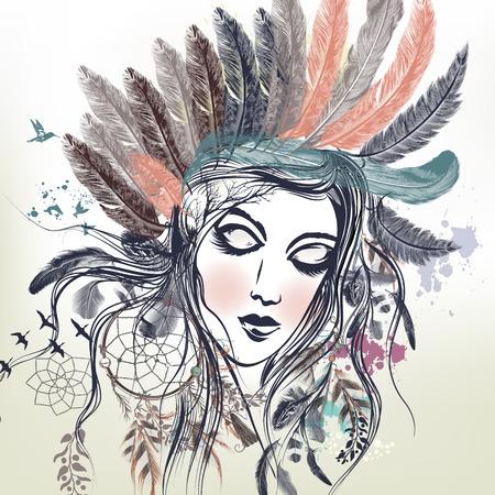 Fashion vector illustration with female face, boho style