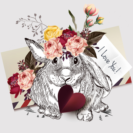 Greeting cute rabbit holding red heart and roses. I love you