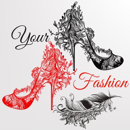Fondo de la manera arte con zapatos de las niñas dibujados a mano y la pluma en los remolinos florales. Tu estilo