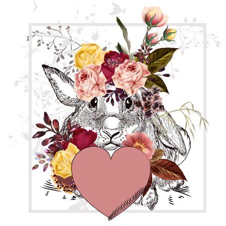 Cute or pretty greeting Valentines Day card with rabbit holding pink heart and flowers. I need you