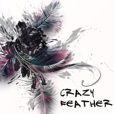 spot clean: Fashion illustration with realistic feathers and grunge spots