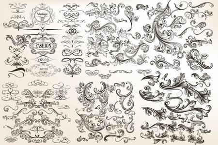 foliate: Huge mega collection of vector decorative flourishes for design Illustration