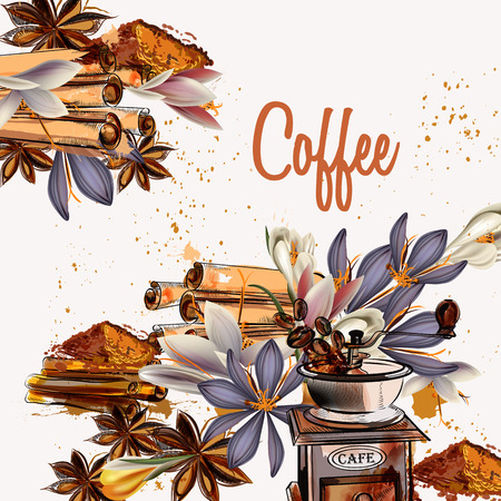 garden flower: Coffee background with anise stars, crocus and grunge spots