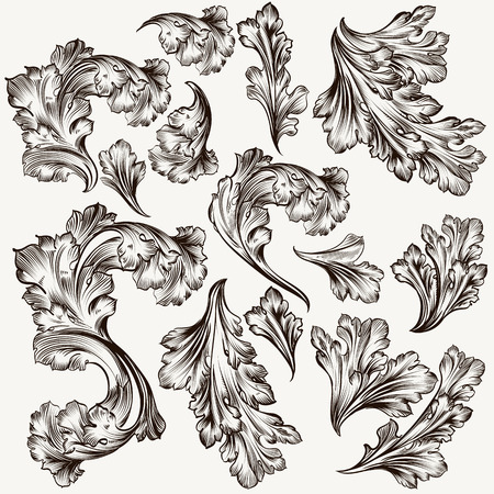 Collection of hand drawn vector filigree swirls for design Vectores